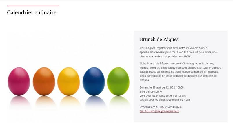 brunch de paques Steingenberger